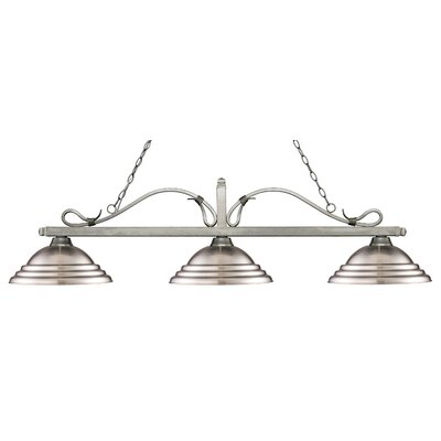 Melrose 3-Light Billiard Light Finish: Antique Silver, Shade Color: Stepped Brushed Nickel