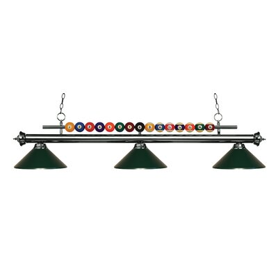 Chapa 3-Light Billiard Light Finish: Gun Metal, Shade Color: Dark Green