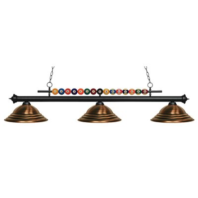 Chapa 3-Light Billiard Light Shade Color: Antique Copper