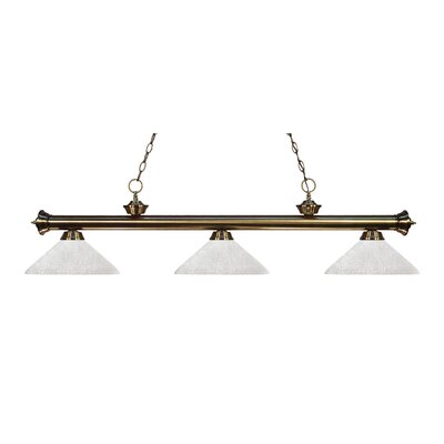 Zephyr Modern 3-Light Bell Shade Billiard Light Finish: Antique Brass, Shade Color: White Linen