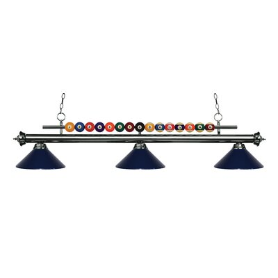 Chapa 3-Light Billiard Light Finish: Gun Metal, Shade Color: Navy Blue