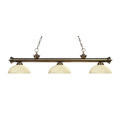 Zephyr 3-Light Bowl Glass Shade Billiard Light Finish: Antique Brass, Shade Color: Golden Mottle