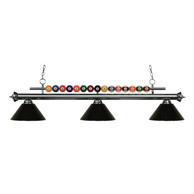 Shark 3-Light Billiard Light Shade Color: Black, Finish: Gun Metal