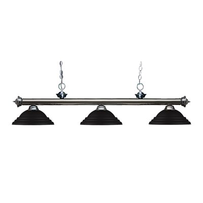 Zephyr Traditional 3-Light Metal Shade Billiard Light Finish: Gun Metal, Shade Color: Matte Black