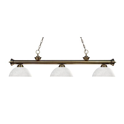 Zephyr 3-Light Bowl Glass Shade Billiard Light Finish: Antique Brass, Shade Color: White Linen