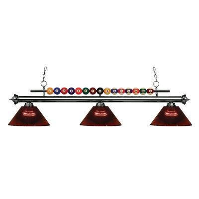 Chapa 3-Light Billiard Light Finish: Gun Metal, Shade Color: Burgundy