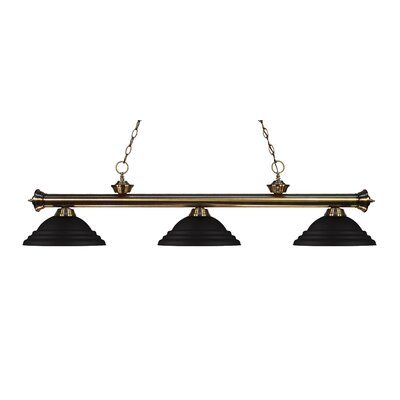 Zephyr Traditional 3-Light Metal Shade Billiard Light Shade Color: Matte Black, Finish: Antique Brass