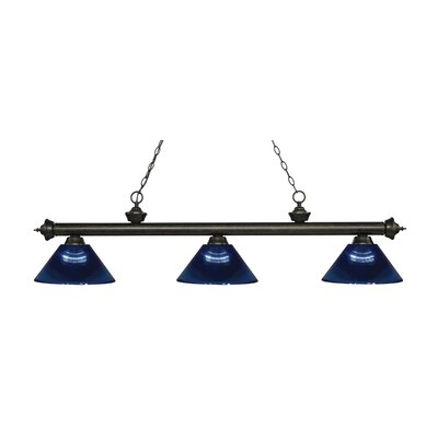 Zephyr Traditional 3-Light Steel Billiard Light Finish: Golden Bronze, Shade Color: Dark Blue, Size: 14.25 H x 57.25 W x 14.25 D