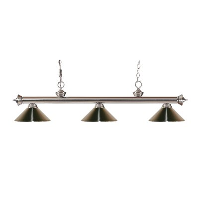 Zephyr Traditional 3-Light Billiard Light Finish: Brushed Nickel, Shade Color: Brushed Nickel