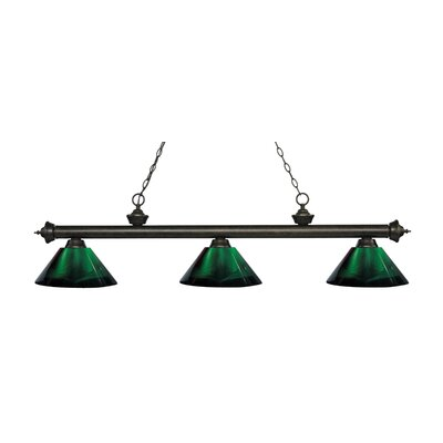 Riviera 3-Light Billiard Light Size: 14.25 H x 57.25 W x 14.25 D, Shade Color: Green, Finish: Golden Bronze