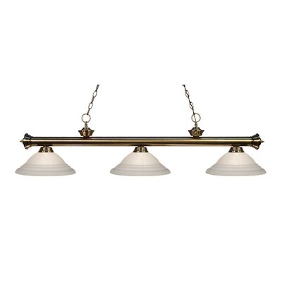 Zephyr Contemporary 3-Light Bell Shade Billiard Light Finish: Antique Brass