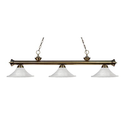 Zephyr 3-Light Bell Glass Billiard Light Finish: Antique Brass, Shade Color: White Mottle