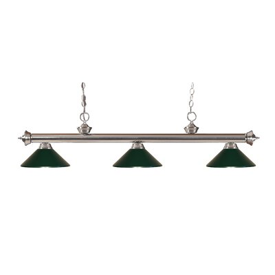 Zephyr Traditional 3-Light Billiard Light Finish: Brushed Nickel, Shade Color: Dark Green