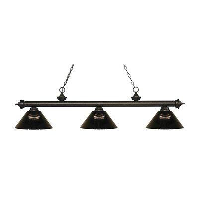 Zephyr Traditional 3-Light Steel Billiard Light Finish: Golden Bronze, Shade Color: Smoke, Size: 14.25 H x 57.25 W x 14.25 D