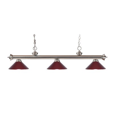 Zephyr Traditional 3-Light Billiard Light Finish: Brushed Nickel, Shade Color: Dark Wine
