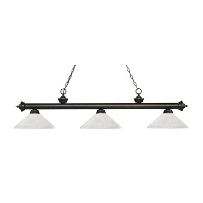 Zephyr 3-Light Billiard Light with Hanging Chain Shade Color: White Linen, Finish: Golden Bronze