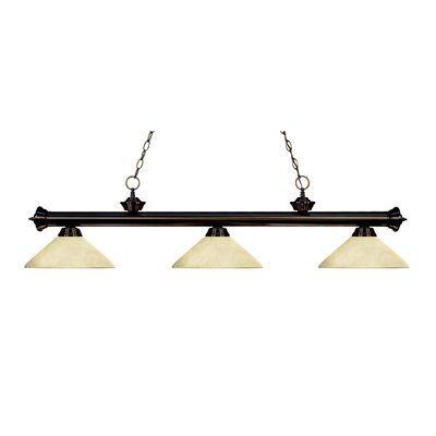 Zephyr Modern 3-Light Bell Shade Billiard Light Finish: Bronze, Shade Color: Golden Mottle