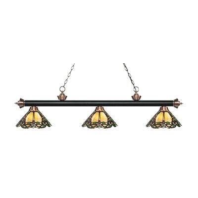 Zephyr Traditional 3-Light Glass Shade Billiard Light Finish: Matte Black / Antique Copper