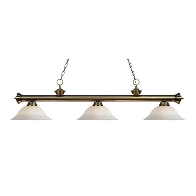 Zephyr Contemporary 3-Light Steel Billiard Light Finish: Antique Brass, Shade Color: White Mottle