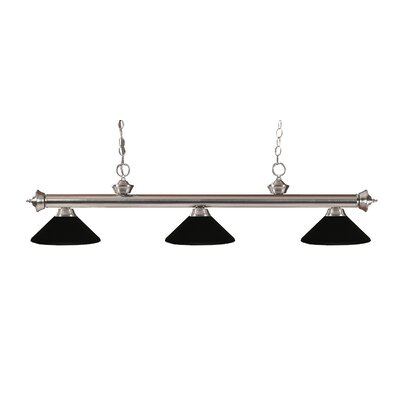 Riviera 3-Light Billiard Light Finish: Brushed Nickel, Shade Color: Matte Black