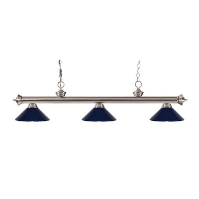 Zephyr Traditional 3-Light Billiard Light Finish: Brushed Nickel, Shade Color: Navy Blue