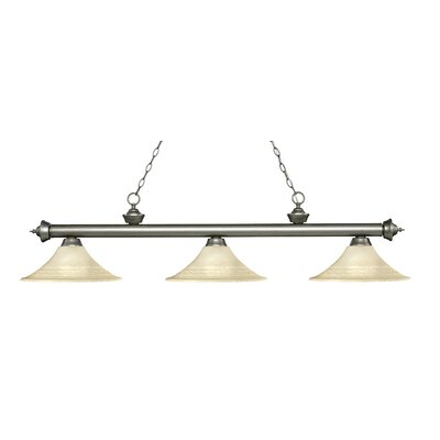Zephyr 3-Light Bell Shade Billiard Light Finish: Antique Silver, Shade Color: Golden Mottle