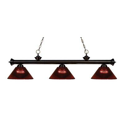 Zephyr Contemporary 3-Light Cone Shade Billiard Light Finish: Bronze, Shade Color: Burgundy