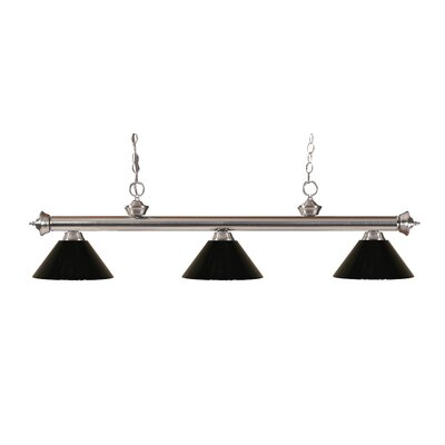 Zephyr Modern 3-Light Steel Billiard Light Finish: Brushed Nickel, Shade Color: Black