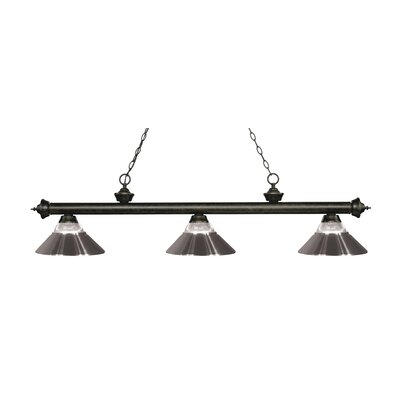 Riviera 3-Light Billiard Light Shade Color: Brushed Nickel, Finish: Golden Bronze