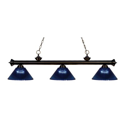 Zephyr Contemporary 3-Light Cone Shade Billiard Light Finish: Bronze, Shade Color: Dark Blue