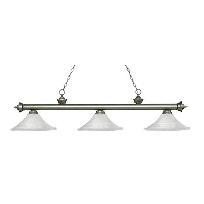 Zephyr 3-Light Bell Shade Billiard Light Finish: Antique Silver, Shade Color: White Mottle