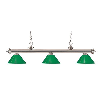 Zephyr Modern 3-Light Steel Billiard Light Finish: Brushed Nickel, Shade Color: Green