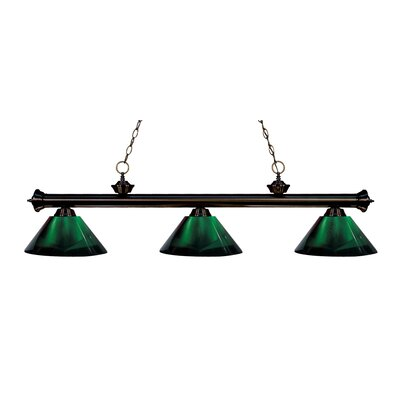 Zephyr Contemporary 3-Light Cone Shade Billiard Light Shade Color: Green, Finish: Bronze