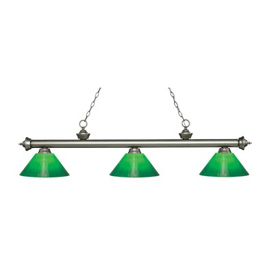Zephyr 3-Light Billiard Light Finish: Antique Silver, Shade Color: Green Cased, Size: 14.5 H x 57 W x 14 D