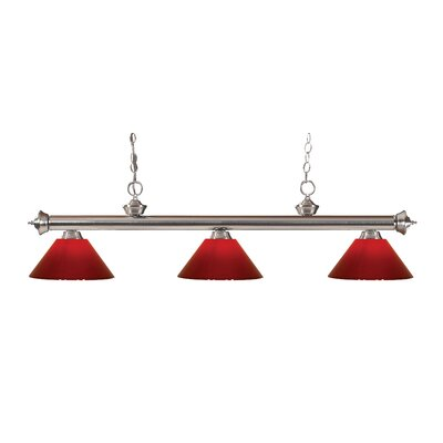 Zephyr Modern 3-Light Steel Billiard Light Finish: Brushed Nickel, Shade Color: Red