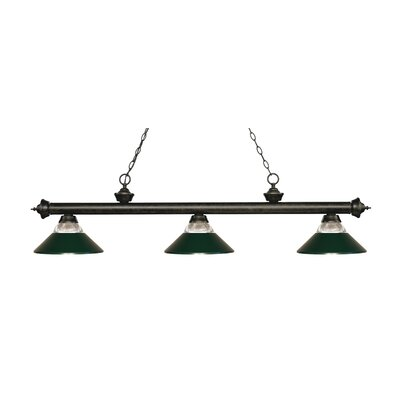 Billington 3-Light Billiard Light Finish: Golden Bronze, Shade Color: Dark Green