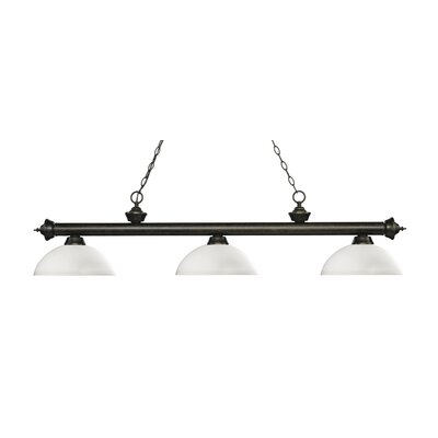 Riviera 3-Light Billiard Light Shade Color: Matte Opal, Finish: Golden Bronze