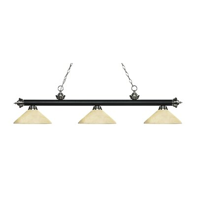 Riviera 3-Light Billiard Light Finish: Matte Black / Brushed Nickel, Shade Color: Golden Mottle