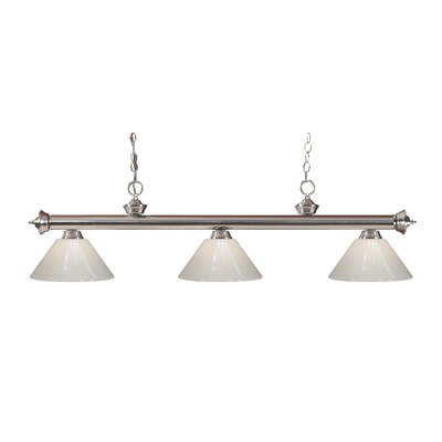 Zephyr Modern 3-Light Steel Billiard Light Finish: Brushed Nickel, Shade Color: White