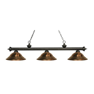 Zephyr 3-Light Cone Shade Billiard Light Finish: Golden Bronze, Shade Color: Antique Copper