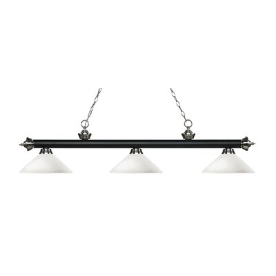 Zephyr 3-Light Billiard Light with Hanging Chain Finish: Matte Black / Brushed Nickel, Shade Color: Matte Opal