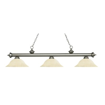 Zephyr 3-Light Billiard Light Finish: Antique Silver, Shade Color: Golden Mottle, Size: 13.5 H x 59 W x 16 D