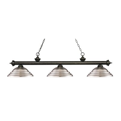 Zephyr 3-Light Cone Shade Billiard Light Finish: Golden Bronze, Shade Color: Brushed Nickel