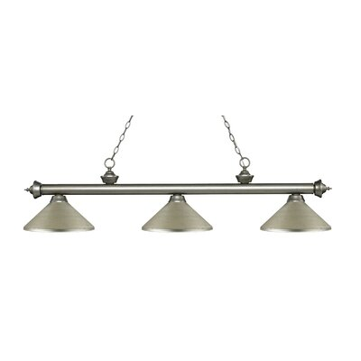 Riviera 3-Light Billiard Light Size: 13.25 H x 57.25 W x 14.25 D, Shade Color: Matte Black, Finish: Antique Silver