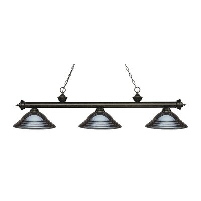 Zephyr 3-Light Cone Shade Billiard Light Finish: Golden Bronze, Shade Color: Gun Metal