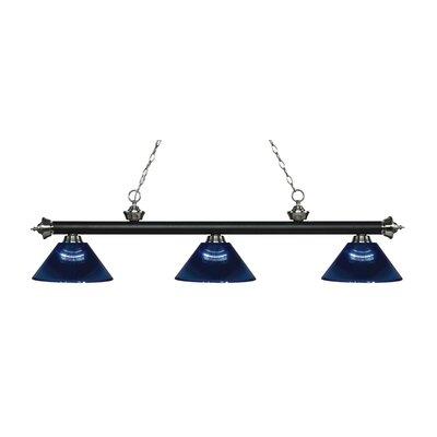 Zephyr Traditional 3-Light Steel Billiard Light Finish: Matte Black / Brushed Nickel, Shade Color: Dark Blue, Size: 14.25 H x 57.25 W x 14.25 D