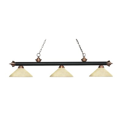 Zephyr 3-Light Billiard Light with Hanging Chain Shade Color: Golden Mottle, Finish: Matte Black / Antique Copper