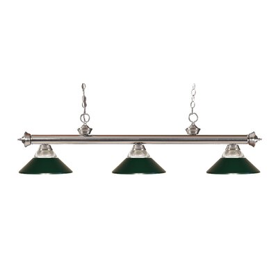 Zephyr 3-Light Incandescent Billiard Light Finish: Brushed Nickel, Shade Color: Dark Green
