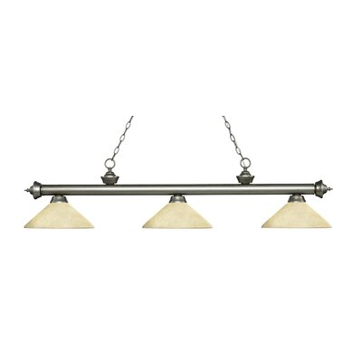 Riviera 3-Light Billiard Light Shade Color: Golden Mottle, Finish: Antique Silver