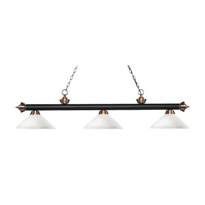 Zephyr 3-Light Billiard Light with Hanging Chain Finish: Matte Black / Antique Copper, Shade Color: Matte Opal